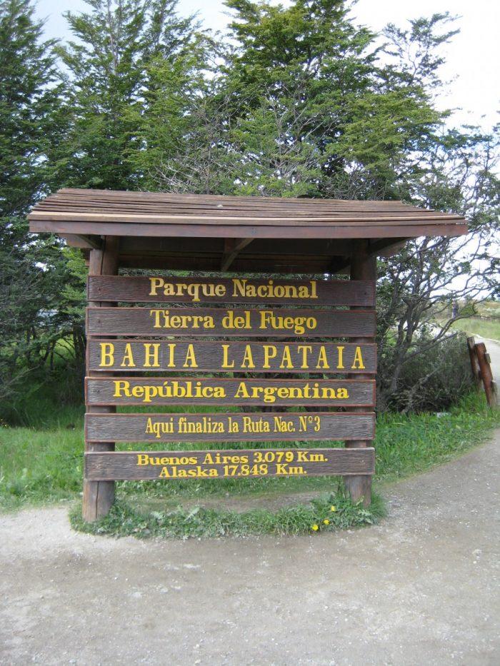 Bord voor park Tierra del Fuega