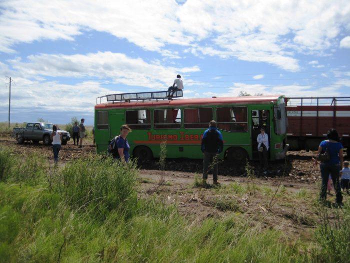 de groene bus naar Ibera zit vast