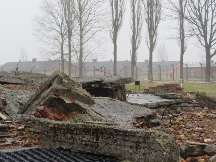 ruïne van gaskamer Birkenau